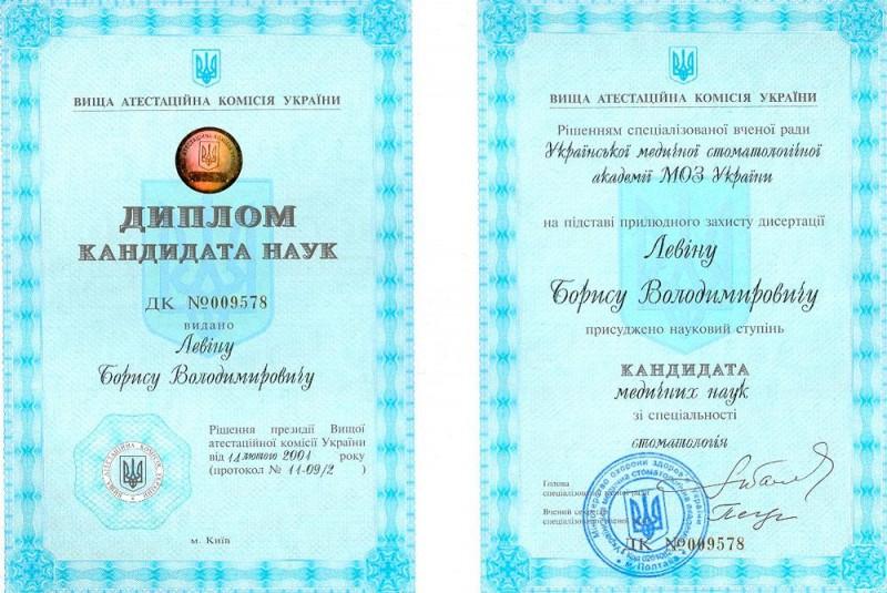 Диплом кандидата медицинских наук Левин Б. В.